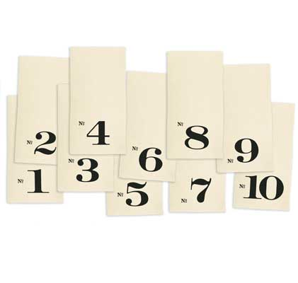 Numbered Napkins