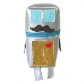 silver robot pouch with moustache