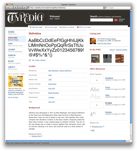 typepedia helvetica screenshot