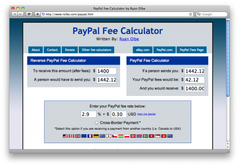 fee for using paypal