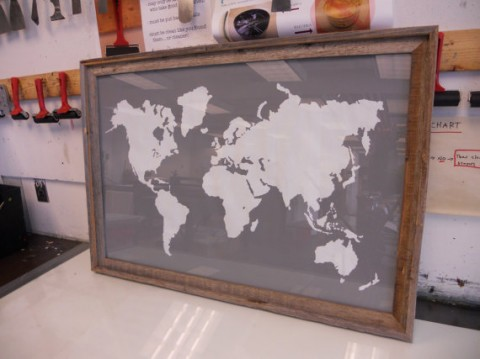 Large World Map Framed.Swissmiss Modern World Map Print