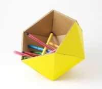 yellow recycled cardboard basket