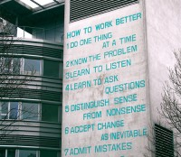 Fischli & Weiss »How to Work Better« Mural on office building in Zurich-Oerlikon.