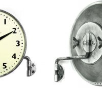 swiss wall mounted clock with swivel arm