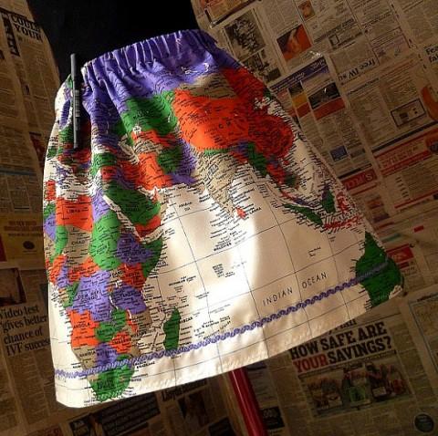 map of the world skirt