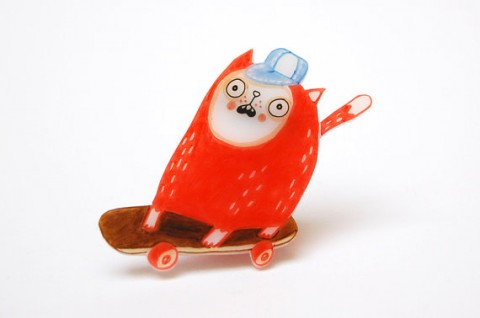 Cat on Skateboard