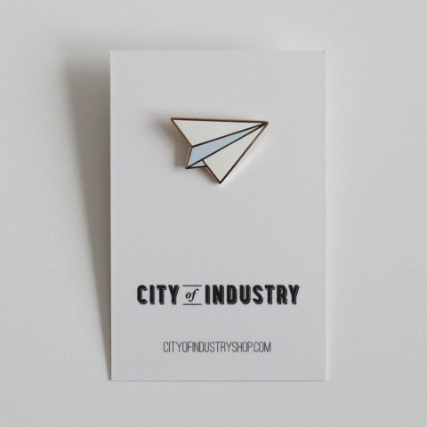 Enamel Paper Airplane Pin