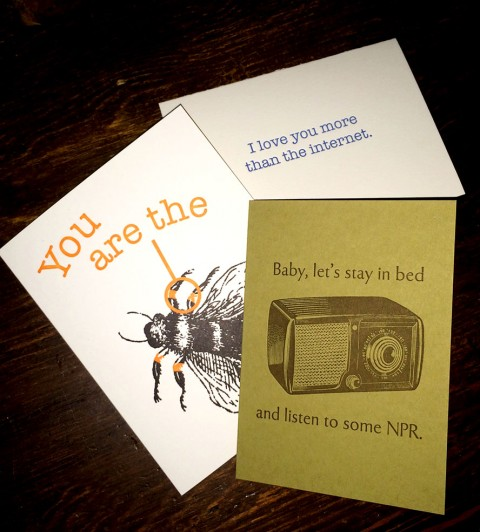 nerdy letterpress printed cards