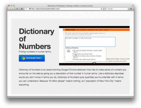 Dictionary of Numbers