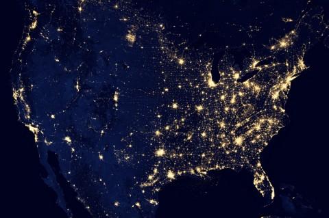 USA by night silk scarves