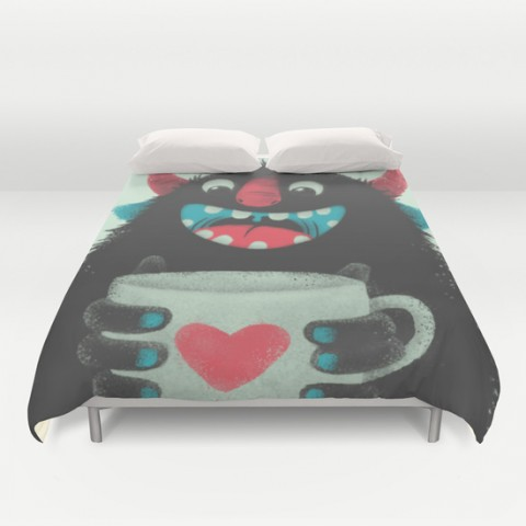 demon with coffee duvet cover
