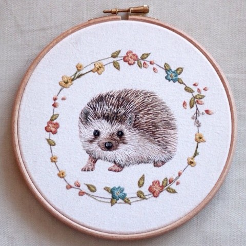 embroidered animal portraits