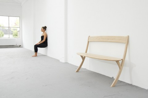 Leaning Wooden Bench