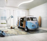VW bus inspired kids bed