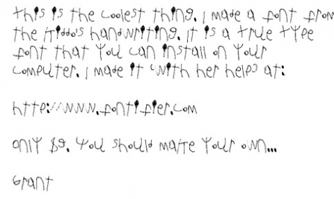 Grant created a custom font with his daughter's handwriting over at ...