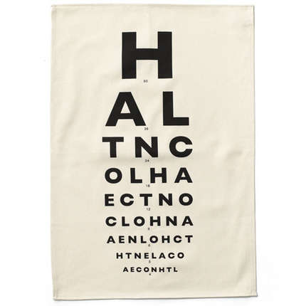 eye chart tea towel